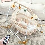 Erweiterte Version Elektrische Baby Wiege, Multifunktionale Automatische Babyschaukel Faltbare 3 Schaukelgeschwindigkeiten Wiege Abnehmbarem Spielzeugbügel Babyliege (Khaki)