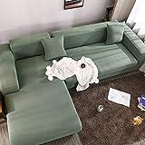 AIKES Moderne Schlichtheit Sofaschoner 1 2 3 4 Sitzer Sofa überzug,Strecke Sofa überzug L-Form,Anti-Slip Komfort Hund Sofahusse Beschützer-Grün 190-230cm(75-91')
