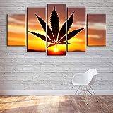 VYQDTNR Bilder Abstrakt 100x55 cm Vlies Leinwandbild 5 Kunstdruck modern Wandbilder XXL Wanddekoration Design Wand Bild - Cannabis Blatt Sonnenuntergang Möbel Art Deco, Rahmen