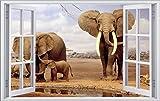 DesFoli Savanne Afrika Elefant 3D Look Wandtattoo 70 x 115 cm Wanddurchbruch Wandbild Sticker Aufkleber F058