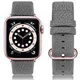 Fullmosa kompatibel Apple Watch Armband 40mm und 38mm,Leder Uhrenarmband Ersatzband für Apple Watch Series SE/6/5/4/3/2/1,40mm/38mm Grau+Roségold Schnalle