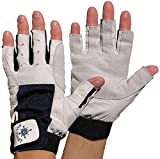 BluePort 2 Paar Damen Herren Segelhandschuhe Gr. XXS / 5 aus Leder - 5 Finger frei/fingerlos