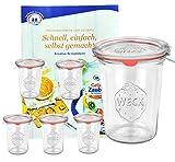6er Set Original WECK 3/4-Liter Sturzglas, 850 ml, Rundrandglas RR100 + Glasdeckel + Dichtring + Weck-Klammern + GRATIS Rezeptheft, Einmachglas, Einkoch-Set, Einlegen, Einwecken + Konservieren, G