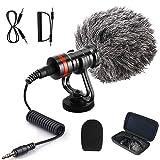 Plartree Videomikrofon mit Stoßdämpferhalterung, Kamera Mikrofon für DSLR Kamera Camcorder iPhone Android mit Windschutz und sprühfestem Schwamm, Externe Mikrofone für Livestream-Aufnahme