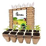 Saatgut-Starter-Tablett, 20 x 10 (200) Zellen, Torf-Töpfe für Setzlinge, biologisch abbaubar, mit 20 Kunststoff-Pflanzenetik