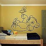 HGFDHG König der Löwen Wandtattoo Kinderzimmer Kindergarten Simba Cartoon Vinyl Wandaufkleber Innenwand Kunst Spielen Schmetterling Nette Dekoration