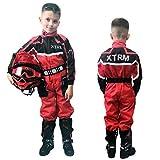 XTRM Kinder One Piece Kart Anzug Rot Motorrad Off Road Pit Mini Dirt MTB Kids Fahrrad Riding Kleidung (YM (5-6yrs))