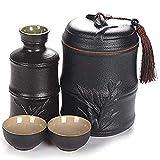 GYC 4-teiliges Sake-Set, Bambus-Modellierungs-Design-Weinbecher-Set mit Wärmetopf, schwarz glasierte Keramikbecher, für Kalt/Warm/Shochu/Tee