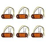 JZK 6 x Orange Bernstein LED Seitenmarkierungsleuchten 12V 24V Frontblinker Licht Seitenblinker Lampe LED Seitenleuchten für Auto Anhänger Wohnmobil Wohnwagen Wohnwagen Fahrrad Motor