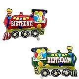 ballonfritz® Happy Birthday Zug Ballon 2er Set - XXL Luftballon 75x60x25cm als Geburtstagsgeschenk, Party-Deko oder Überraschung für den Kindergeburtstag