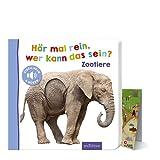 Hör mal rein, wer kann das sein? - Zootiere (Pappbilderbuch) + Zoo-Wimmel-Übersicht, Soundbuch ab 18 Monaten