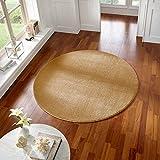 Taracarpet Teppich Kurzflor modern für Wohnzimmer Schlafzimmer und das Kinderzimmer super weich und Öko Tex Zertifiziert gelb 120x120 cm rund