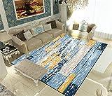 Liveinu Modern Teppich Gedruckt mit Anti-Rutsch Unterstützung Abwaschbarer Kurzflor Teppich Fußmatten für Wohnzimmer, Esszimmer, Schlafzimmer oder Kinderzimmer 100x200cm XY004-4