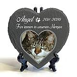 Individueller Personalisiert Herzform Tiergrabstein Schiefer Gedenkstein + Ständer für Hund, Katze und andere Haustiere Tiere - Größe | 10 x 10 cm | - Foto und N