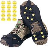 Tevlaphee Schuhspikes,Schuhkrallen,Steigeisen,Schuh Spikes für Bergschuhe,mit einem 15er-Pack Ersatz-Schneespikes für Damen,Herren und Kinder(Schwarz, M)