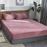 Superweiches Spannbetttuch,Verdicken Sie die einfarbige Tagesdecke aus warmem Samt für Herbst und Winter, die für Studentenwohnheime geeignet ist. Pink_purple_180cmx200cm + 25cm (Tiefe) (1St.)