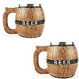 zrrz 0.5l Bier Gläser Großer Hölzerner Bierkrug Mit Henkel Weizenbierglas,Geschenk Für Männer,2p