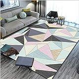 Modern Designer Rug Kurzflor rutschfeste Mat fürs Wohnzimmer, Schlafzimmer,Schwarzrosa beige mehrfarbige handgemalte Geometrie 100X160CM(3.3ft x 5.2ft)