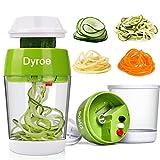 Dyroe Spiralschneider Hand für Gemüsespaghetti, 5 in1 Gemüse Spiralschneider, Gemüsehobel Gemüsenudeln spiralschneider für Zucchini, Karotte, Gurke, Kartoffel, Kürbis, Zwiebel
