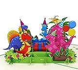 MOKIO® Pop-Up Geburtstagskarte – Happy Birthday Dino-Party mit Geschenk & Luftballons – 3D Geschenkkarte zum Geburtstag, handgefertigte Klappkarte mit Umschlag