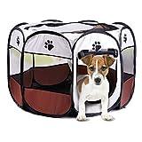 Authda Welpenlaufstall für Hunde Wohnung,Faltbar,Welpenfreilaufgehege aus Strapazierfähigem Polyester Welpenauslauf,Tierlaufstall Freilaufgehege für Innen und Außen (S-74x74x43cm, Braun)