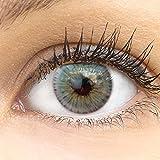 Sehr stark deckende und natürliche blaue Kontaktlinsen SILIKON COMFORT NEUHEIT farbig 'Monza Blue' blau + Behälter von GLAMLENS - 1 Paar (2 Stück) - DIA 14.50 mm - ohne Stärke 0.00 Dioptrien