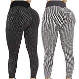 Damen Leggings Butt Lifter Anti-Cellulite Yogahosen Stretch Hohe Taille Sportleggings Blickdicht Push UP Yogaleggings Lift Sporthose Sexy Bauchkontrolle Lange Hosen S-XL (Gray 3, L)
