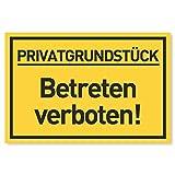 Privatgrundstück Betreten verboten Schild (30x20 cm Kunststoff) - Zutritt verboten Schilder - Durchgang Privat - (Gelb) Betreten Verb
