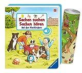 Buchspielbox Sachen suchen, Sachen hören: Bei den Tierkindern + Zoo-Wimmelposter, Pappbilderbuch ab 18 M