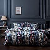 Omela Bettwäsche Set 135x200 Bohemian Exotisch Boho Style 2 teilig Microfaser Modern Blau Deckenbezug mit Reißverschluss - 135 x 200 cm + 80 x 80 cm