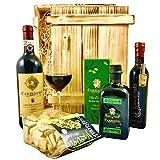 Geschenkset Siena | Exklusiver Geschenkkorb gefüllt mit Rotwein & Olivenöl aus Italien | Feinschmecker Präsentkorb mit Wein & italienischen Spezialitäten aus der Tosk