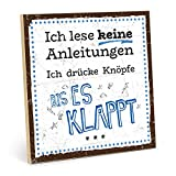 TypeStoff Holzschild mit Spruch – Anleitung – im Vintage-Look mit Zitat als Geschenk und Dekoration zum Thema lustig und Gebrauchsanweisung (Größe: 19,5 x 19,5 cm)