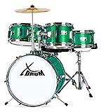 XDrum Junior Kinder Schlagzeug Emerald Green Sparkle - Geeignet von 3-6 Jahren - Bass Drum, Snare Drum, 2 Toms und 1 Becken - inklusive Hocker und Schule mit DVD - grün