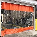 ERLAN Abdeckplane Plane Seitenwandzelt im Freien Seitenleiste PVC, Klar & Orange wasserdichte Plane für Carport Pergola Werkstatt, Trennvorhang mit Tülle (Color : W×h, Size : 5.3×2.5m/17.4×8.2ft)