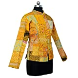 iinfinize Pocket Housecoat Steppjacke Patchwork Jacke Böhmische Baumwolljacke Outdoor Windbreaker Vintage Oberbekleidung Wendeweste Größe XL Gelb