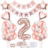 Bluelves 2 Geburtstag Deko, 2. Geburtstag Dekoration, 2 Jahr Geburtstagdeko, 2 Ballon Rosegold Deko, Luftballon 2. Geburtstag Deko, 2 Geburtstag Mädchen, 2 Geburtstag Frau, Deko 2 Geburtstag Mädchen