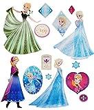alles-meine.de GmbH 15 TLG. Set _ Wandtattoo / Sticker -  Disney die Eiskönigin / Frozen  - Wandsticker - Aufkleber für Kinderzimmer - selbstklebend + wiederverwendb