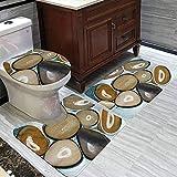 WXZQNN 3-Teiliges Rutschfestes Badteppich-Set Abstrakte Steinteppiche Badematte + Konturmatte + Toilettenkissenbezug Für Die Inneneinrichtung