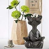 Meditierende Katzenstatue, Gartenstatuen Schwarze Buddha Katzenfigur Meditation Yoga Sammlerstück, Happy Cat Decor Kunstskulpturen Gartenstatuen Wohnkultur