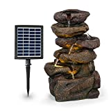 blumfeldt Savona Solarbrunnen,inkl. Solarpanel,Leistung: 2,8 Watt,Lithium-Ionen-Batterie (ca. 5h Laufzeit),LED-Beleuchtung,Material: Polyresin,frostbeständig,Steinoptik