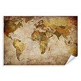 Postereck - 0459 - Vintage Weltkarte, Karte Bunt Länder Kontinente - Unterricht Klassenzimmer Schule Wandposter Fotoposter Bilder Wandbild Wandbilder - Leinwand - 35,0 cm x 25,0 cm