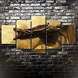 Spetich 5 Stück Leinwand Kunstdruck Bild Moderne Wandbehang Dekoration Bild Abstraktes Design Hd Office Trendy Foto Holzrahmen-Game of Thrones Drachenfilm