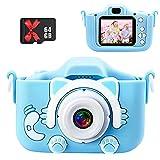 GERKYE Kinderkamera-Digitalkamera Kinder 2 Zoll Großbild-Minikamera HD 1200P Eingebaute 64GB SD-Karte USB Wiederaufladbare Selfie-Kamera 3-10 Jahre alt Mädchen Geburtstag Kinderspielzeug