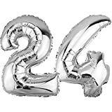 DekoRex ® Folienballon Zahlenballon Luftballon Geburtstag Deko 40cm Silber Zahl: 24