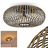 Deckenleuchte Oravi, runde Deckenlampe aus Metall in Schwarz/Gold, 1-flammig, E27-Fassung max. 60 Watt, Retro-Leuchte mit Lichteffekt durch Gitter-Optik, LED Leuchtmittel geeignet