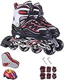 Roller Skates Inline Roller Skates zusätzlicher Flash-justierbaren Kinder Inline Skates Männer und Frauen Roller Blades Roller Schuhe Pu-Ineinander greifen Red S