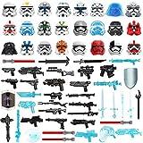 WWEI 65St. Ritter Helm, Ritter Rüstung und Custom Waffen Set für Mini Ritter Figuren SWAT Polizei, kompatibel mit Lego