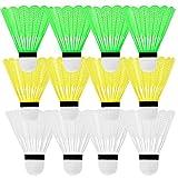 12x Federball Bälle im Set | Federbälle für Badminton & Freizeit – Bunt Neon Gelb Grün Weiß | Profi Badminton Bälle Schnell - Federballspiel für Erwachsene & Kinder ideal für Outdoor Spiele