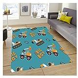 HFDSG Teppich Rechteck Home Schlafzimmer Wohnzimmer Büro Nordic Cartoon Niedlicher Minibagger Moderne Nordic Short Pile Bodendekoration Kann Gewaschen Werden