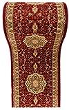 WE LOVE RUGS CARPETO Läufer Teppich Flur in Weinrot Rot Beige - Orientalisch Muster - 3D-Effekt Dichter und Dicker Flor - Läuferteppich nach Maß - ISKANDER Kollektion 90 x 350 cm